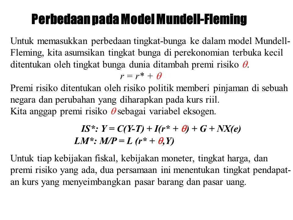 Perbedaan pada Model Mundell-Fleming Untuk memasukkan perbedaan tingkat-bunga ke dalam model Mundell- Fleming, kita asumsikan tingkat bunga di perekon