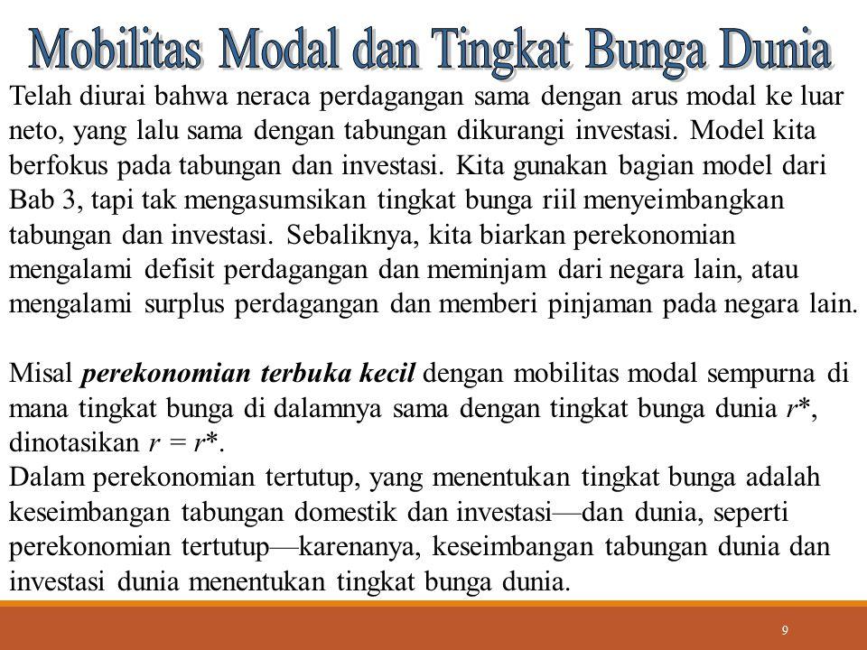 9 Telah diurai bahwa neraca perdagangan sama dengan arus modal ke luar neto, yang lalu sama dengan tabungan dikurangi investasi. Model kita berfokus p