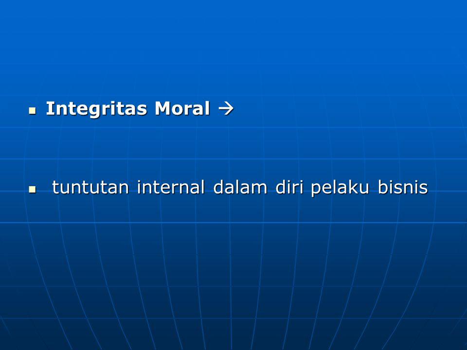 Integritas Moral  t tuntutan internal dalam diri pelaku bisnis