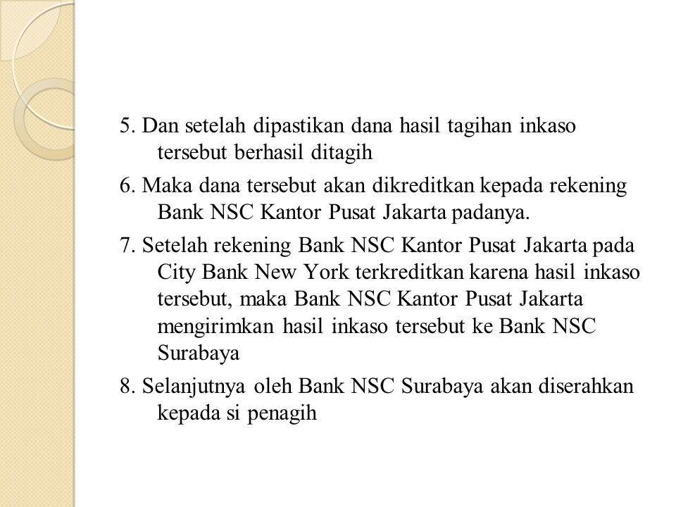 5. Dan setelah dipastikan dana hasil tagihan inkaso tersebut berhasil ditagih 6. Maka dana tersebut akan dikreditkan kepada rekening Bank NSC Kantor P