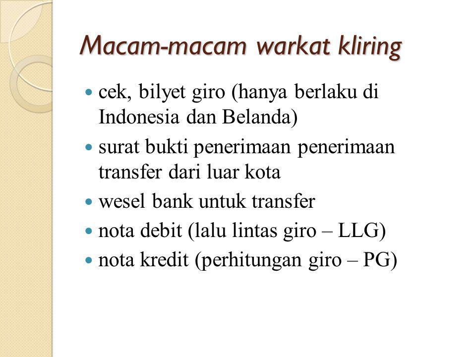 Macam-macam warkat kliring cek, bilyet giro (hanya berlaku di Indonesia dan Belanda) surat bukti penerimaan penerimaan transfer dari luar kota wesel b