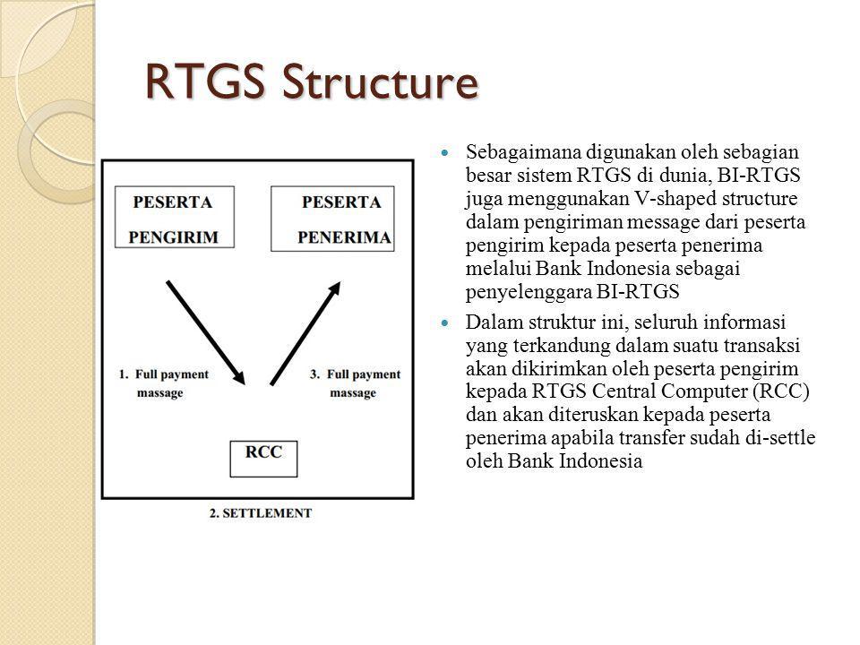 RTGS Structure Sebagaimana digunakan oleh sebagian besar sistem RTGS di dunia, BI-RTGS juga menggunakan V-shaped structure dalam pengiriman message da