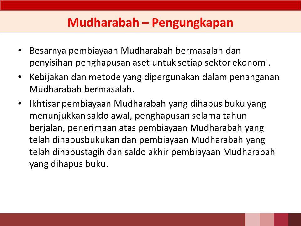 Mudharabah – Pengungkapan Rincian jumlah pembiayaan Mudharabah berdasarkan sifat akad (Mudharabah mutlaqah atau Mudharabah muqayadah), jenis penggunaan dan sektor ekonomi.