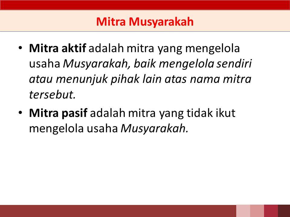 Definisi Musyarakah adalah akad kerjasama antara dua pihak atau lebih untuk suatu usaha tertentu, dimana masing-masing pihak memberikan kontribusi dana dengan ketentuan bahwa keuntungan dibagi berdasarkan kesepakatan sedangkan kerugian berdasarkan porsi kontribusi dana berupa kas maupun aset non-kas yang diperkenankan oleh Syariah.