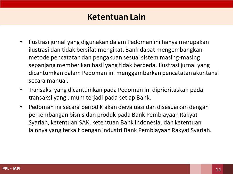 Acuan Penyusunan Standar Akuntansi Keuangan Entitas Tanpa Akuntabilitas Publik (SAK ETAP) sepanjang tidak bertentangan dengan prinsip Syariah; Kerangka Dasar Penyusunan dan Penyajian Laporan Keuangan Syariah dan Pernyataan Standar Akuntansi Keuangan Syariah; Ketentuan yang dikeluarkan oleh Bank Indonesia; Fatwa yang dikeluarkan oleh Dewan Syariah Nasional - Majelis Ulama Indonesia; Peraturan perundang-undangan yang relevan dengan Laporan Keuangan; dan Praktik-praktik akuntansi yang berlaku umum, sepanjang tidak bertentangan dengan prinsip Syariah Dalam hal standar akuntansi keuangan memberikan pilihan atas perlakuan akuntansi, maka BPR wajib mengikuti pilihan sesuai ketentuan Bank Indonesia.