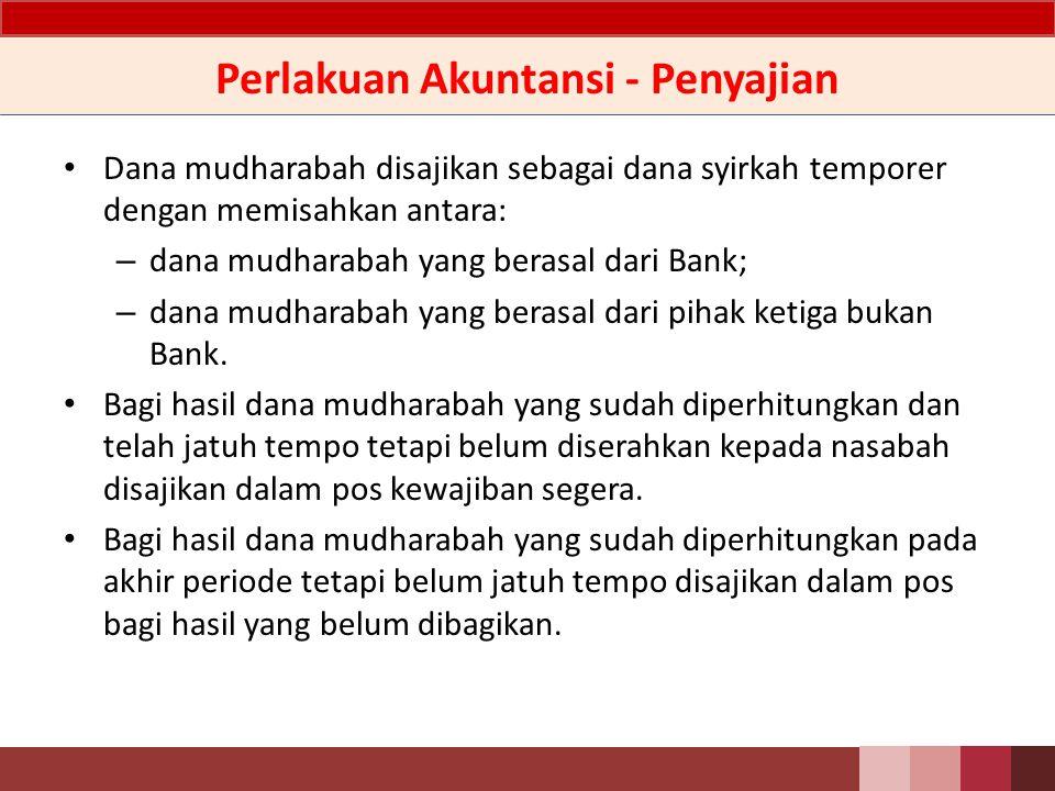 Perlakuan Akuntansi – Pengakuan&Pengukuran Dana mudharabah dari pemilik dana diakui pada saat diterima sebesar jumlah yang diterima.