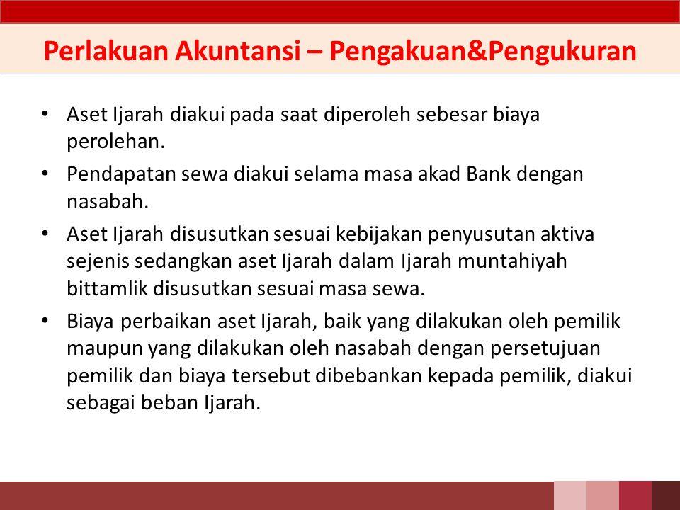 Nilai Atas Aset Bank harus melakukan uji penurunan nilai atas aset Ijarah yang dimiliki secara periodik berdasarkan nilai wajar.