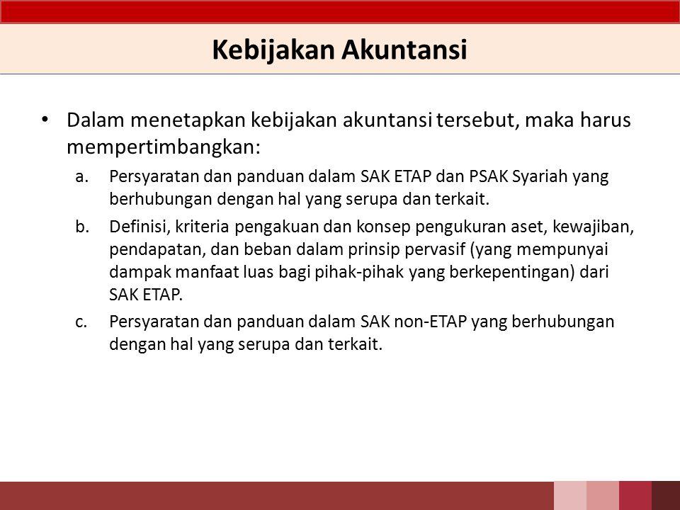 Kebijakan Akuntansi Kebijakan tersebut harus mencerminkan prinsip kehati – hatian dan mencakup semua hal yang material dan sesuai dengan ketentuan dalam Standar Akuntansi Keuangan Entitas Tanpa Akuntabilitas Publik (SAK ETAP) dan PSAK Syariah.