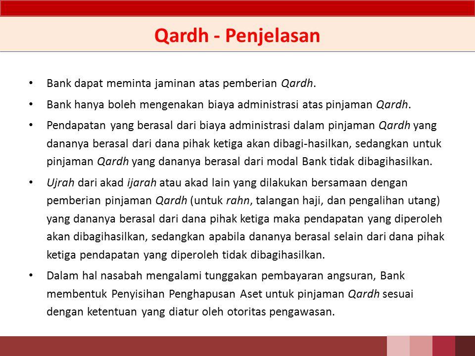 Qardh - Akad Qardh Komersial Akad Qardh yang dilakukan sebagai sarana atau kelengkapan bagi transaksi lain yang menggunakan akad-akad mu'awadhah (pertukaran dan dapat bersifat komersial) dalam produk yang bertujuan untuk mendapatkan keuntungan.