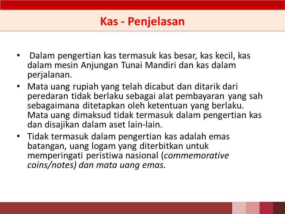 Kas-Definisi Kas adalah mata uang kertas dan logam baik Rupiah maupun valuta asing yang masih berlaku sebagai alat pembayaran yang sah.