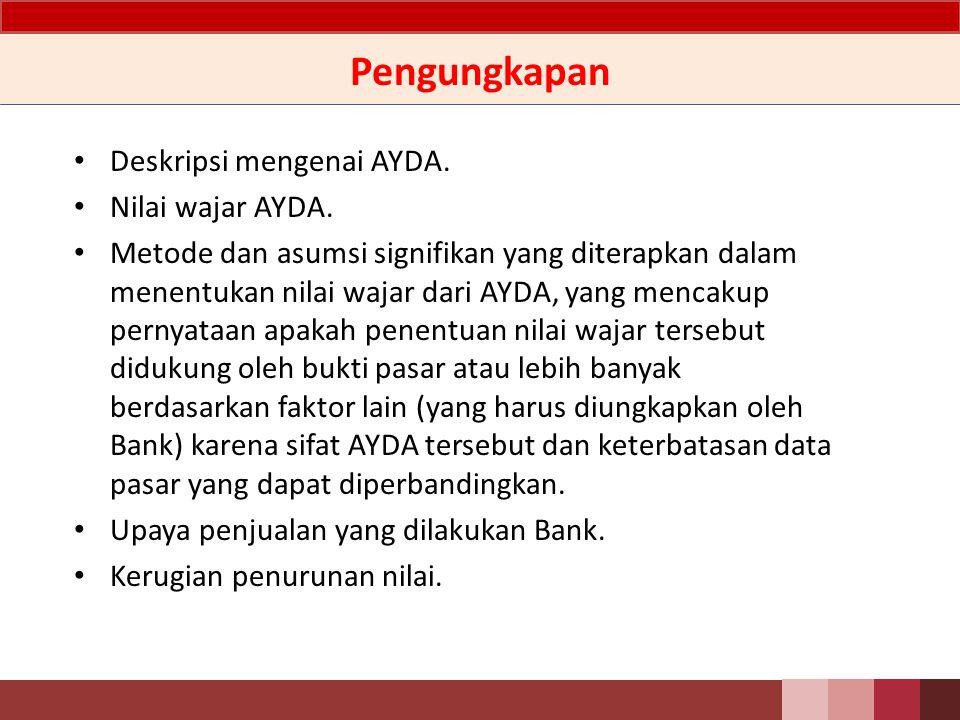 Ilustrasi Jurnal Pada saat terjadi penurunan nilai AYDA: Db.