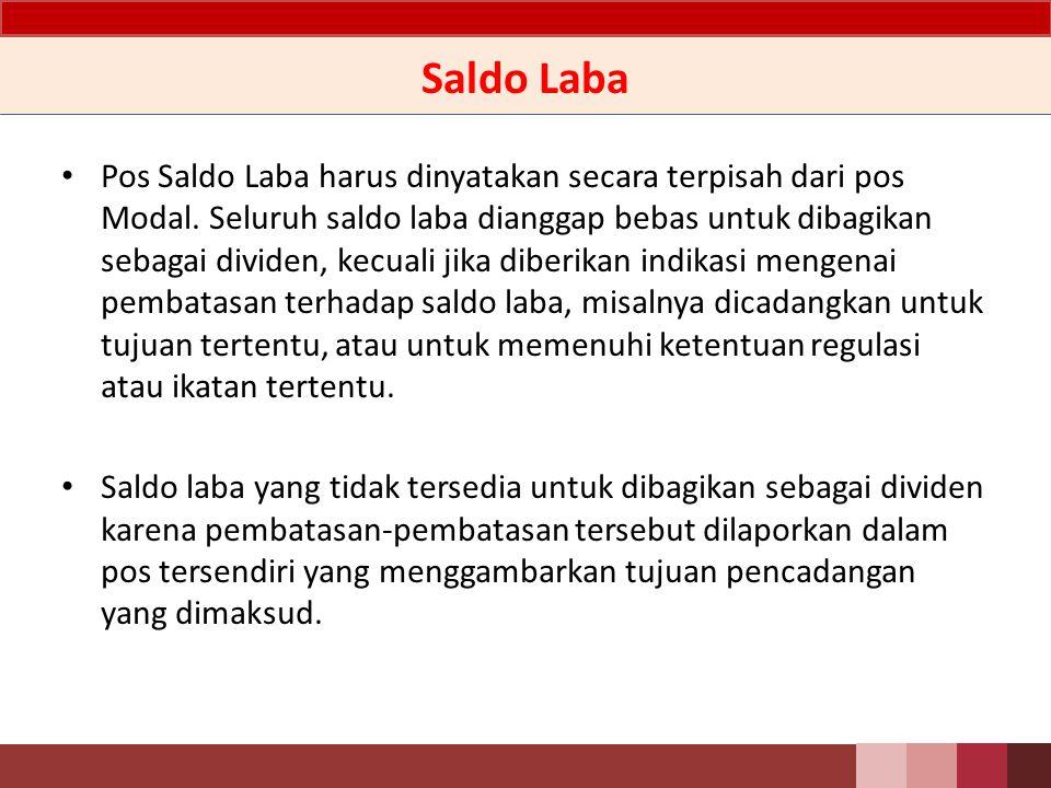 Definisi Saldo Laba (Laba Ditahan) adalah akumulasi hasil usaha periodik setelah memperhitungkan pembagian dividen, koreksi laba rugi periode lalu, dan reklasifikasi surplus revaluasi aset tetap.