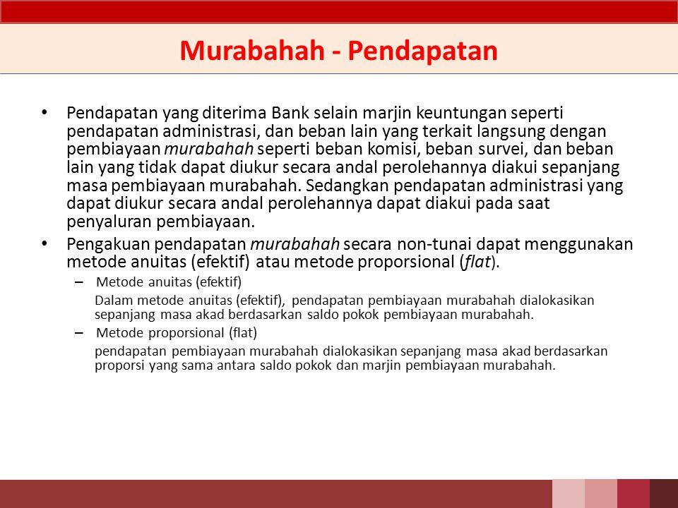 Murabahah - Akuntansi Piutang murabahah diakui pada saat akad transaksi murabahah, sebesar harga perolehan ditambah keuntungan (marjin) yang disepakati.