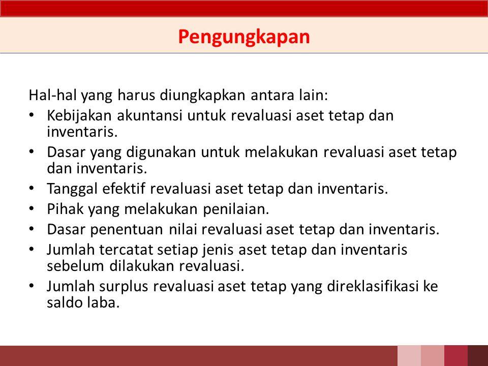 Ilustrasi Jurnal Pada saat dilakukan revaluasi aset tetap dan inventaris: Db.