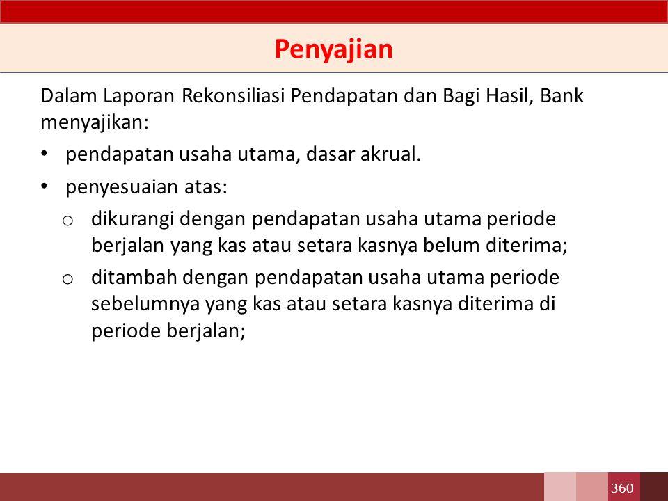 Penjelasan Perbedaan dasar pengakuan antara pendapatan yang diterima Bank dengan pendapatan yang dibagihasilkan, mengharuskan Bank menyajikan Laporan Rekonsiliasi Pendapatan dan Bagi Hasil sebagai bagian komponen utama Laporan Keuangan.