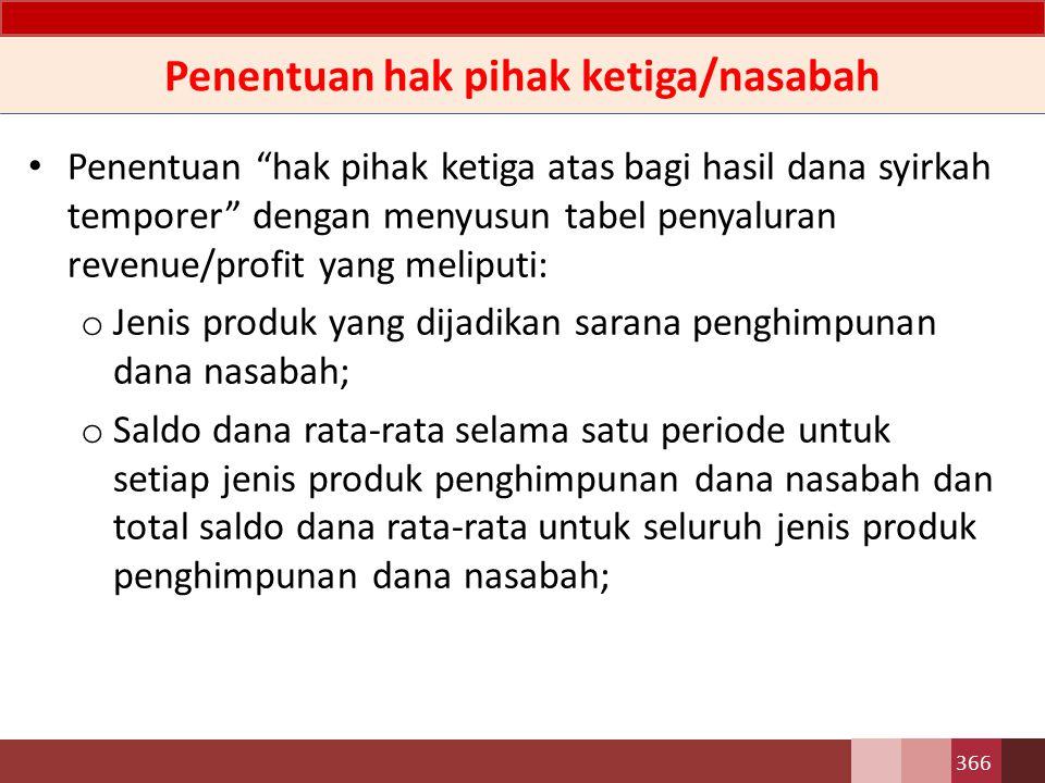 Penentuan hak pihak ketiga/nasabah o Hasil penyaluran dana (pendapatan usaha utama) dasar kas yang diterima Bank; dan o Jumlah hasil penyaluran dana (pendapatan usaha utama) dasar kas yang harus dibagihasilkan antara Bank dan nasabah penyimpan.