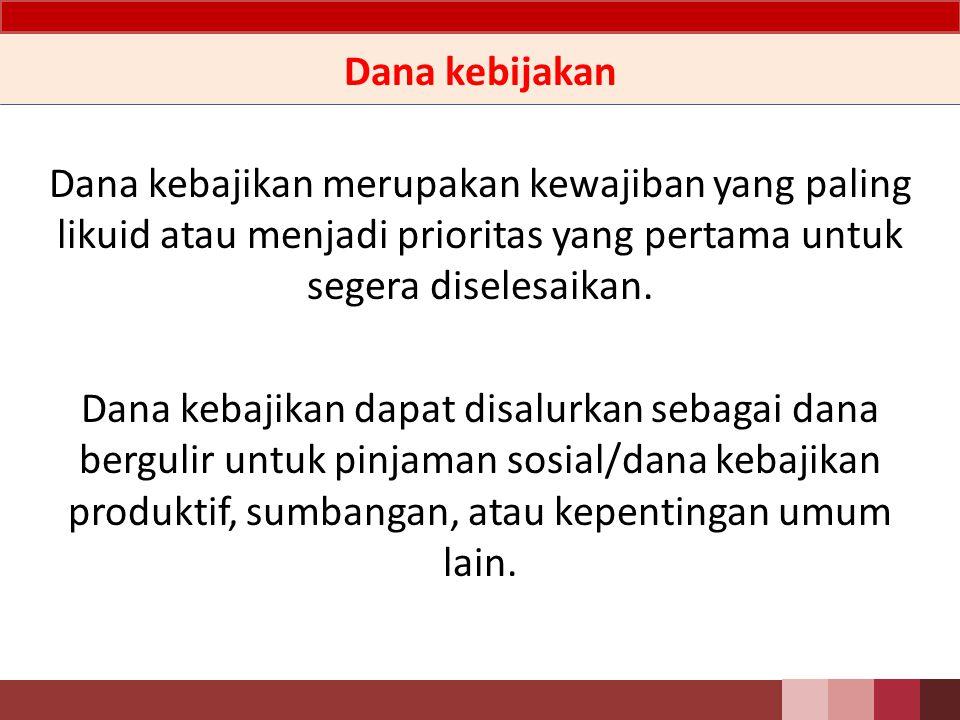 Penjelasan o Penggunaan dana kebajikan untuk:  dana kebajikan produktif;  sumbangan; dan  penggunaan lainnya untuk kepentingan umum.
