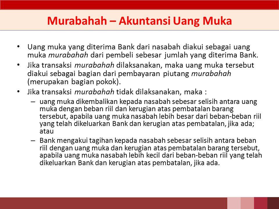 Murabahah – Uang Muka Bank dapat meminta uang muka kepada nasabah sebagai bukti komitmen pembelian aset murabahah sebelum akad disepakati.