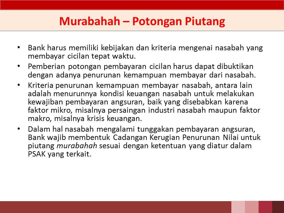 Murabahah – Potongan Piutang Bank harus memiliki kebijakan dan kriteria mengenai nasabah yang membayar cicilan tepat waktu.