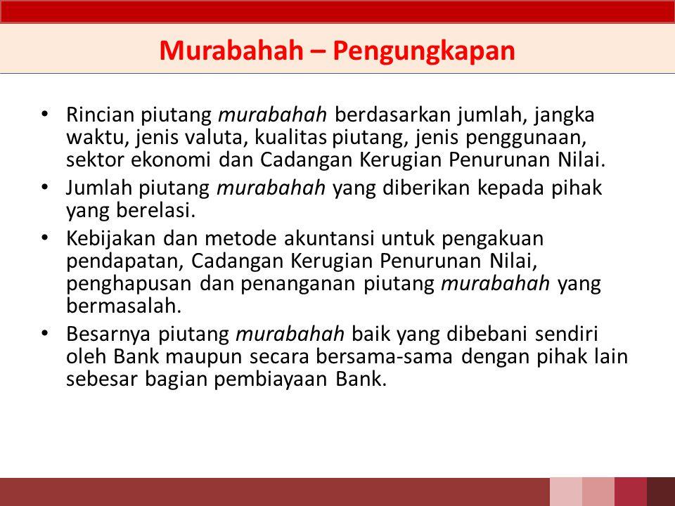 Murabahah – Penyajian Uang muka murabahah dari pembeli disajikan sebagai liabilitas lainnya.