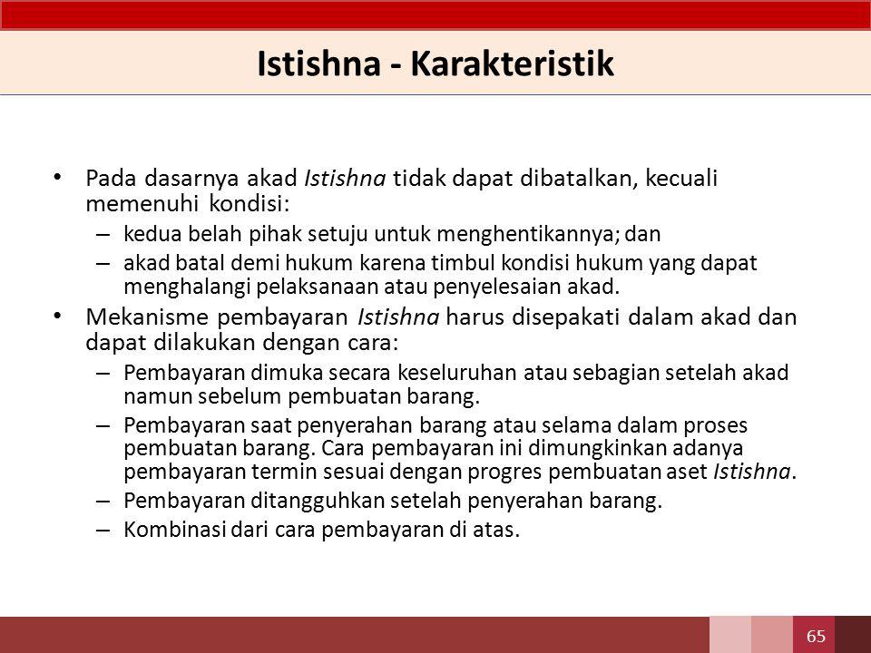 Istishna - Karakteristik Spesifikasi dan harga barang pesanan dalam Istishna disepakati oleh pembeli dan penjual di awal akad.