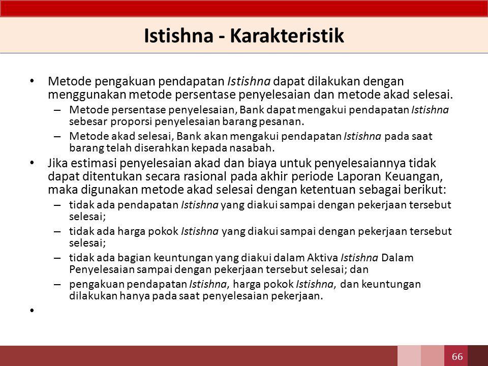 Istishna - Karakteristik Pada dasarnya akad Istishna tidak dapat dibatalkan, kecuali memenuhi kondisi: – kedua belah pihak setuju untuk menghentikannya; dan – akad batal demi hukum karena timbul kondisi hukum yang dapat menghalangi pelaksanaan atau penyelesaian akad.