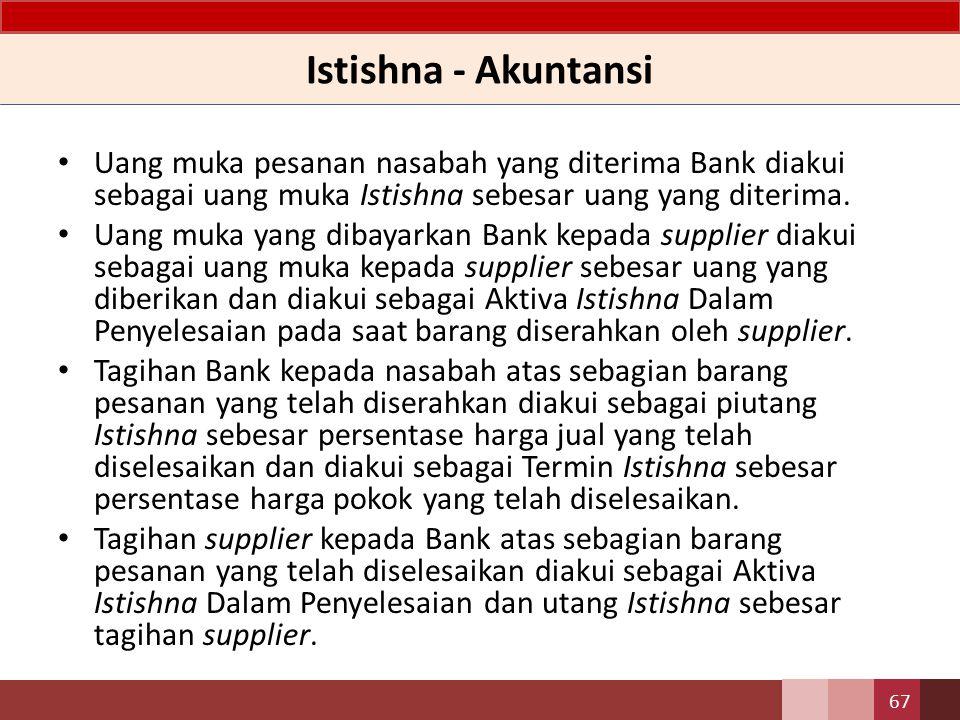 Istishna - Karakteristik Metode pengakuan pendapatan Istishna dapat dilakukan dengan menggunakan metode persentase penyelesaian dan metode akad selesai.