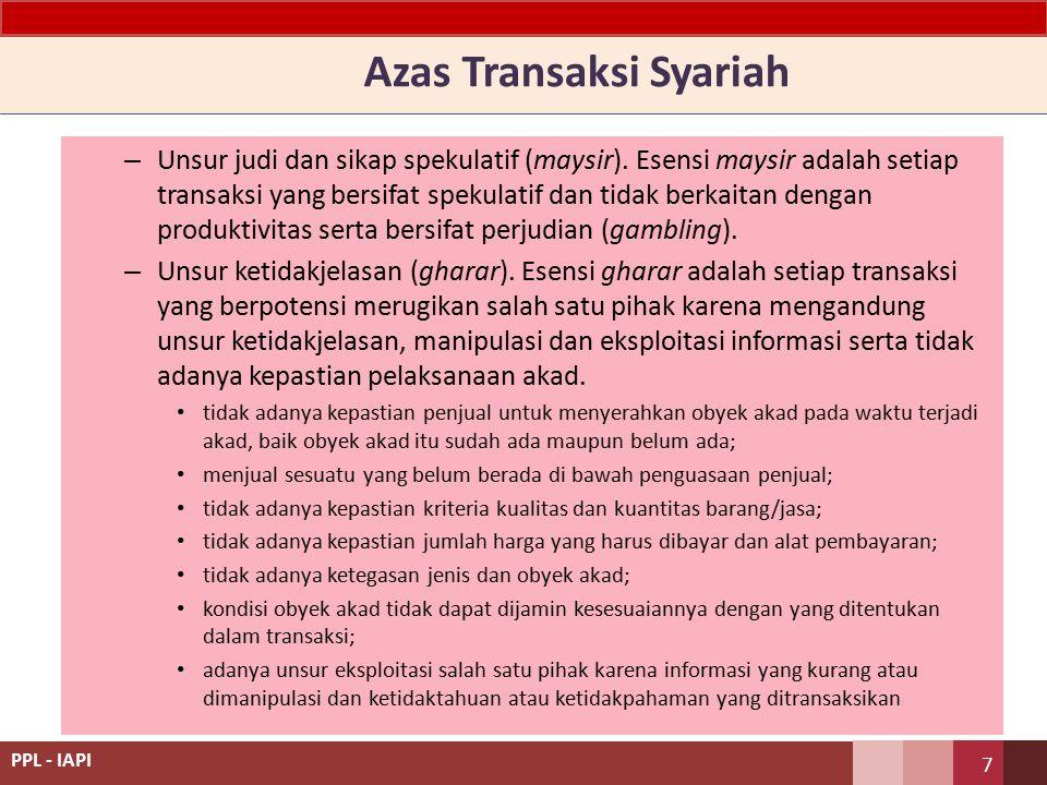 Azas Transaksi Syariah – Unsur judi dan sikap spekulatif (maysir).