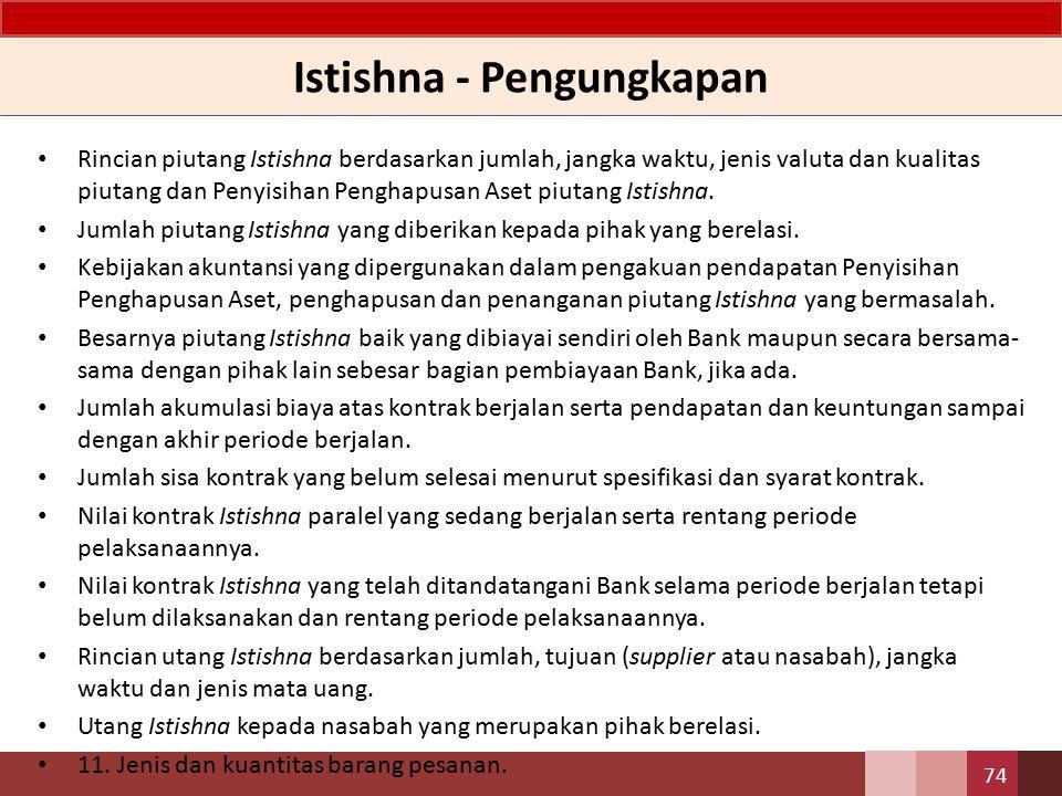 Istishna - Jurnal Pada saat pengakuan pendapatan diakhir periode pelaporan (akru) – Db.Pendapatan marjin Istishna yang akan diterima – Kr.