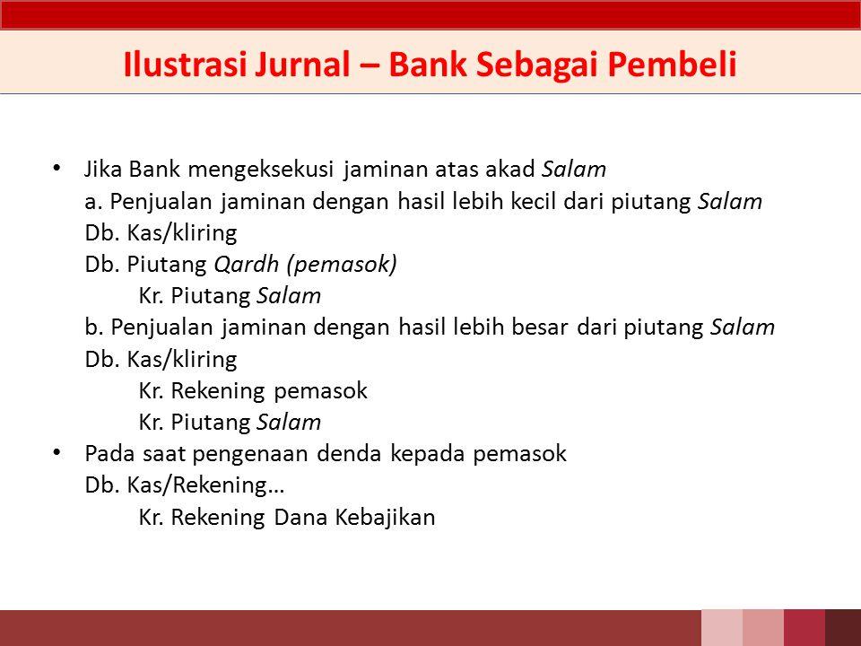 Ilustrasi Jurnal – Bank Sebagai Pembeli Pada saat Bank menyerahkan uang kepada pemasok Db.