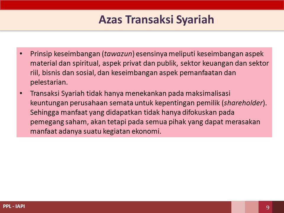 Azas Transaksi Syariah Prinsip keseimbangan (tawazun) esensinya meliputi keseimbangan aspek material dan spiritual, aspek privat dan publik, sektor keuangan dan sektor riil, bisnis dan sosial, dan keseimbangan aspek pemanfaatan dan pelestarian.