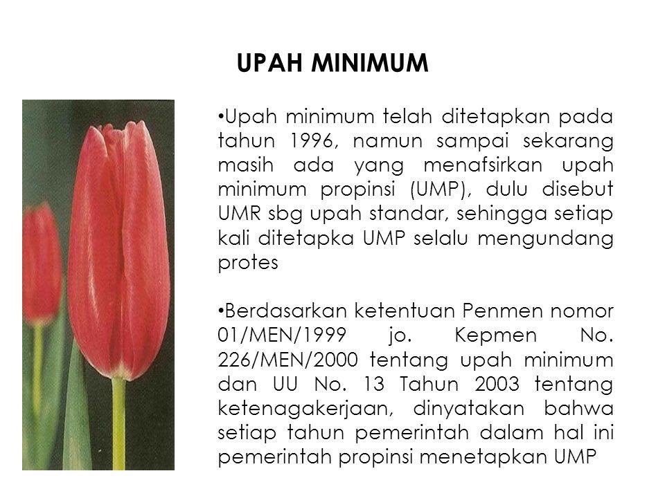 UPAH MINIMUM Upah minimum telah ditetapkan pada tahun 1996, namun sampai sekarang masih ada yang menafsirkan upah minimum propinsi (UMP), dulu disebut