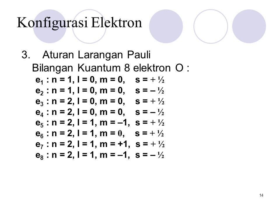 14 Konfigurasi Elektron 3. Aturan Larangan Pauli Bilangan Kuantum 8 elektron O : e 1 : n = 1, l = 0, m = 0, s = + ½ e 2 : n = 1, l = 0, m = 0, s = – ½