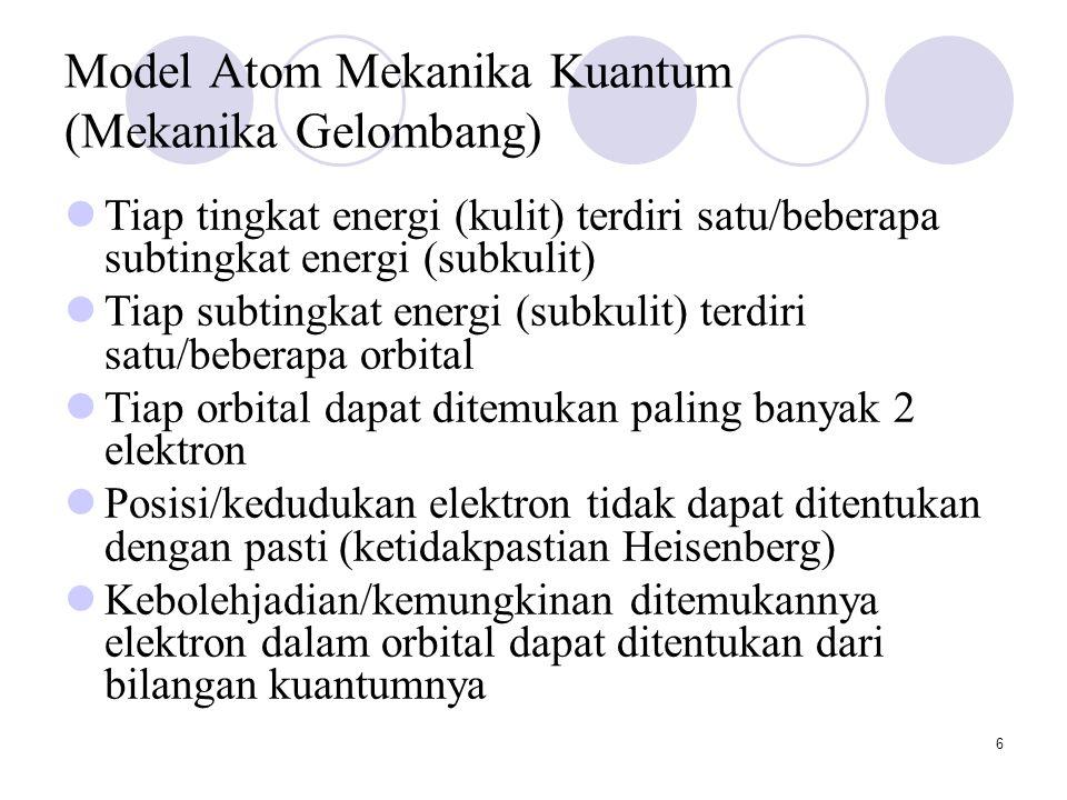 6 Model Atom Mekanika Kuantum (Mekanika Gelombang) Tiap tingkat energi (kulit) terdiri satu/beberapa subtingkat energi (subkulit) Tiap subtingkat energi (subkulit) terdiri satu/beberapa orbital Tiap orbital dapat ditemukan paling banyak 2 elektron Posisi/kedudukan elektron tidak dapat ditentukan dengan pasti (ketidakpastian Heisenberg) Kebolehjadian/kemungkinan ditemukannya elektron dalam orbital dapat ditentukan dari bilangan kuantumnya