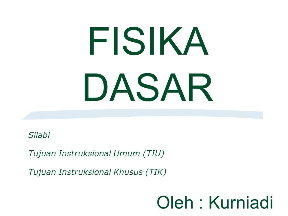 FISIKA DASAR Silabi Tujuan Instruksional Umum (TIU) Tujuan Instruksional Khusus (TIK) Oleh : Kurniadi