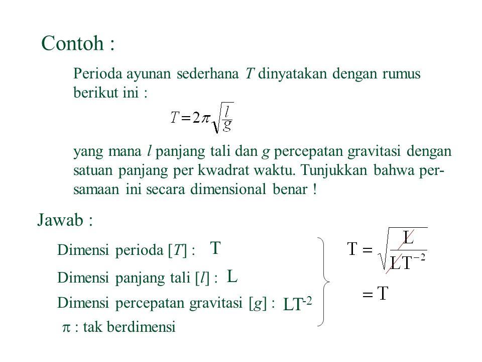 Analisa Dimensi n Suatu besaran dapat dijumlahkan atau dikurangkan apabila memiliki dimensi yang sama.