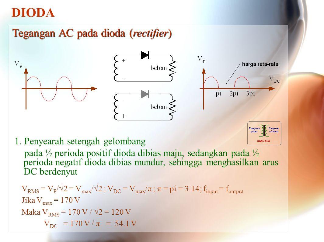 DIODA 1. Penyearah setengah gelombang pada ½ perioda positif dioda dibias maju, sedangkan pada ½ perioda negatif dioda dibias mundur, sehingga menghas