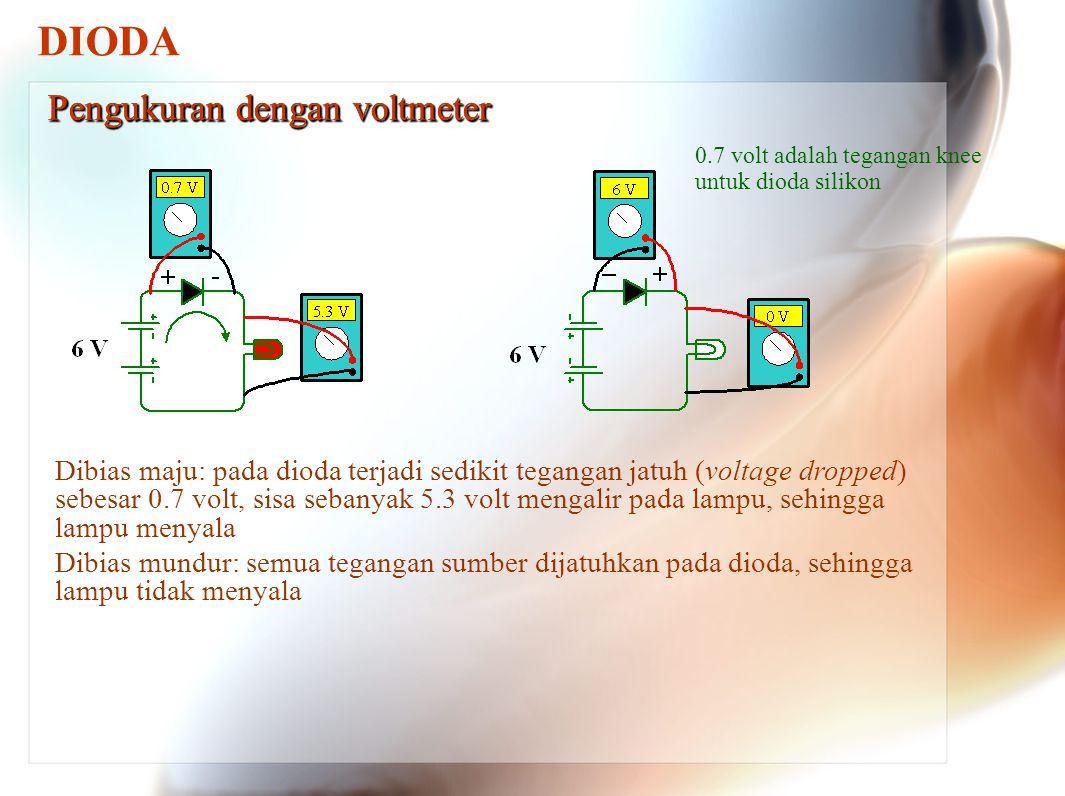 DIODA Pengukuran dengan voltmeter Dibias maju: pada dioda terjadi sedikit tegangan jatuh (voltage dropped) sebesar 0.7 volt, sisa sebanyak 5.3 volt me