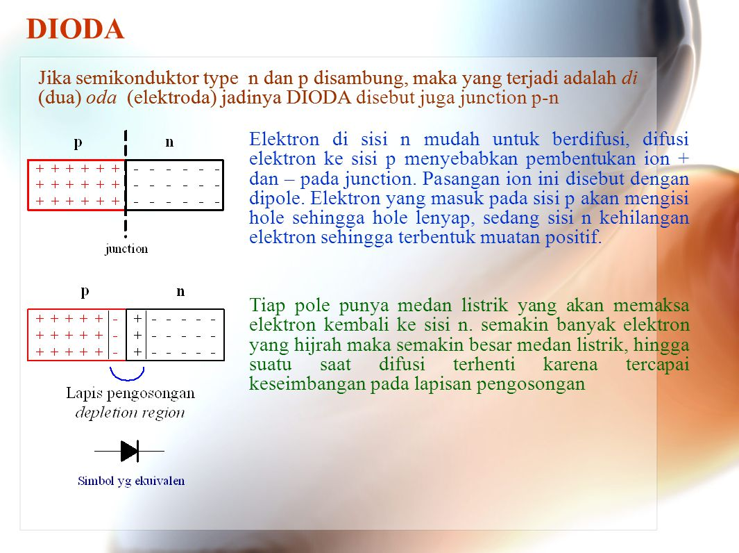 Elektron di sisi n mudah untuk berdifusi, difusi elektron ke sisi p menyebabkan pembentukan ion + dan – pada junction. Pasangan ion ini disebut dengan