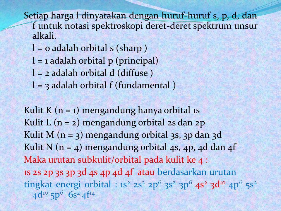 Setiap harga l dinyatakan dengan huruf-huruf s, p, d, dan f untuk notasi spektroskopi deret-deret spektrum unsur alkali.