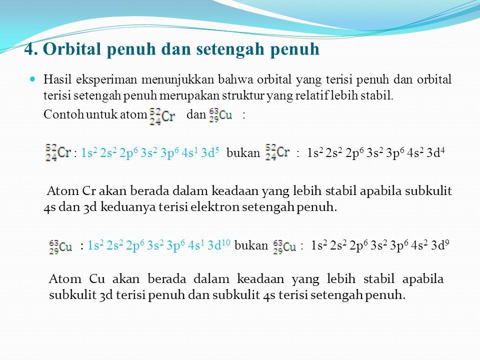 4. Orbital penuh dan setengah penuh Hasil eksperiman menunjukkan bahwa orbital yang terisi penuh dan orbital terisi setengah penuh merupakan struktur