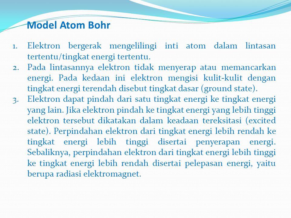 Model Atom Bohr 1.Elektron bergerak mengelilingi inti atom dalam lintasan tertentu/tingkat energi tertentu.