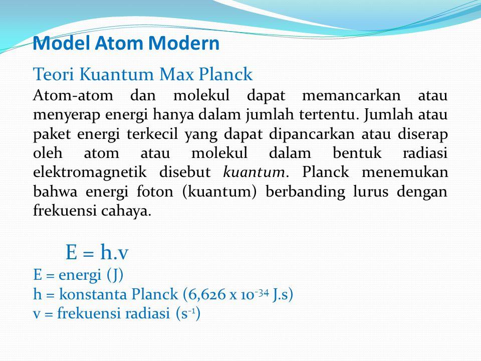 Model Atom Modern Teori Kuantum Max Planck Atom-atom dan molekul dapat memancarkan atau menyerap energi hanya dalam jumlah tertentu.