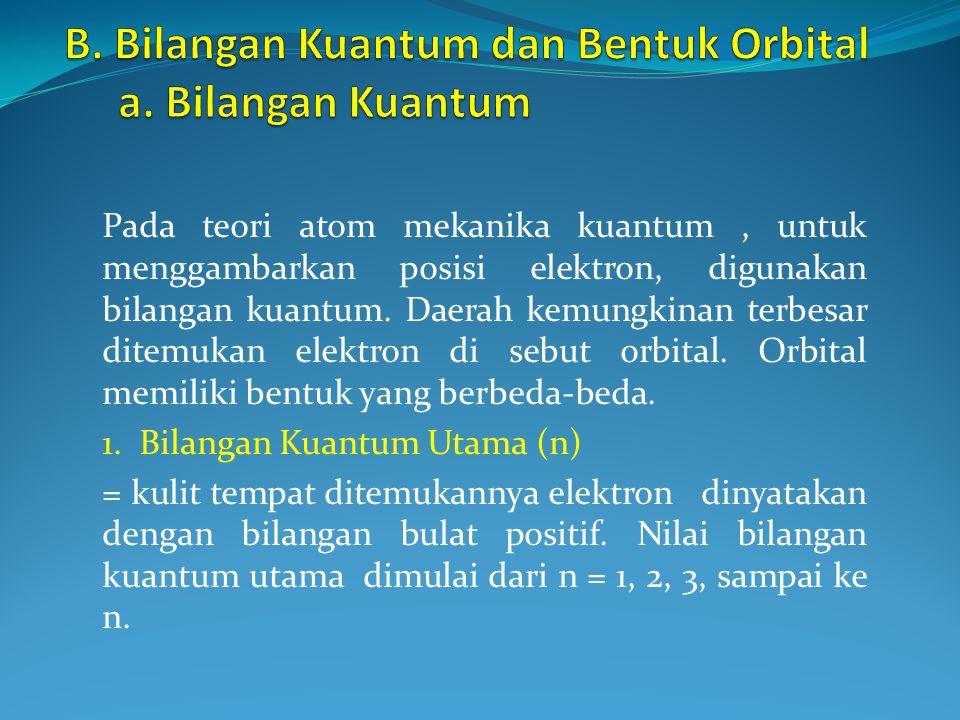 Pada teori atom mekanika kuantum, untuk menggambarkan posisi elektron, digunakan bilangan kuantum.