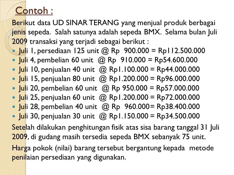 Contoh : Berikut data UD SINAR TERANG yang menjual produk berbagai jenis sepeda. Salah satunya adalah sepeda BMX. Selama bulan Juli 2009 transaksi yan