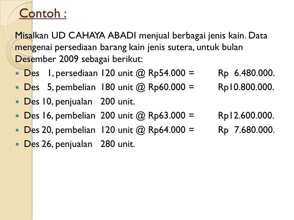 Contoh : Misalkan UD CAHAYA ABADI menjual berbagai jenis kain. Data mengenai persediaan barang kain jenis sutera, untuk bulan Desember 2009 sebagai be