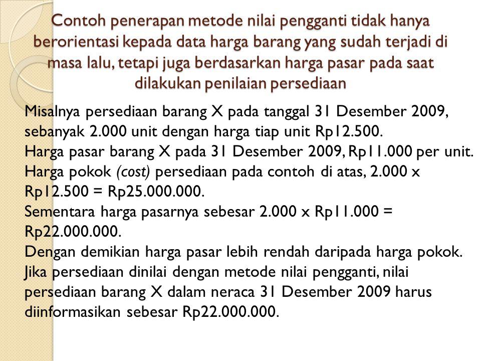 Contoh penerapan metode nilai pengganti tidak hanya berorientasi kepada data harga barang yang sudah terjadi di masa lalu, tetapi juga berdasarkan harga pasar pada saat dilakukan penilaian persediaan Misalnya persediaan barang X pada tanggal 31 Desember 2009, sebanyak 2.000 unit dengan harga tiap unit Rp12.500.