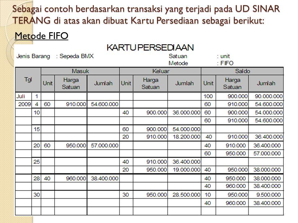 Sebagai contoh berdasarkan transaksi yang terjadi pada UD SINAR TERANG di atas akan dibuat Kartu Persediaan sebagai berikut: Metode FIFO