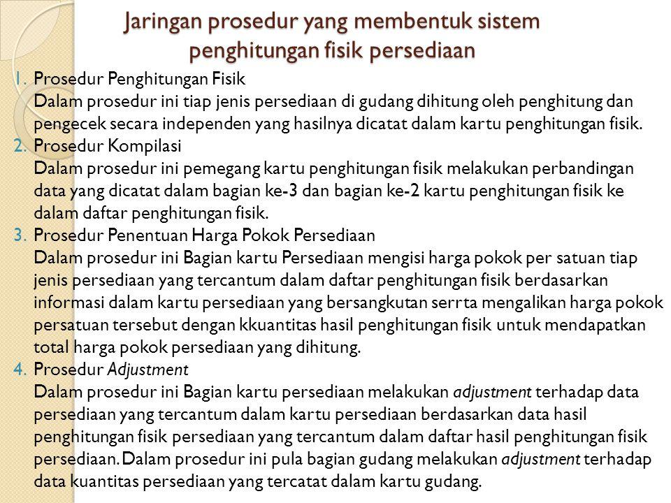 Jaringan prosedur yang membentuk sistem penghitungan fisik persediaan 1.Prosedur Penghitungan Fisik Dalam prosedur ini tiap jenis persediaan di gudang