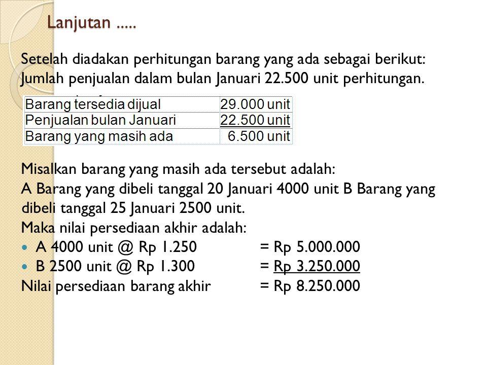 Lanjutan..... Setelah diadakan perhitungan barang yang ada sebagai berikut: Jumlah penjualan dalam bulan Januari 22.500 unit perhitungan. Misalkan bar